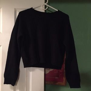 Forever 21 cable sweater large black long sleeve